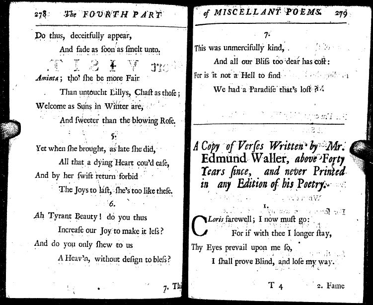 an analysis of the poem song by edmund waller Which on the shaft that made him die espied a feather of his own, wherewith he wont to soar so high to a lady singing a song of his composing reported in bartlett's familiar quotations, 10th ed (1919) see also eagles, for variations on this theme a narrow compass and yet there dwelt all that's good, and all that's fair.